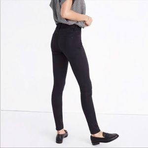 "Madewell 9"" High Rise Skinny Sateen Black Jeans"